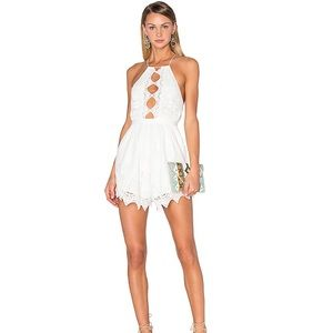 NWT backless white lace romper